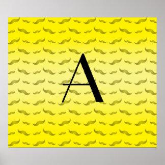 Monogram shiny yellow mustache pattern poster