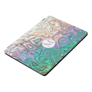 Monogram Silver Aquamarine Pink Reflections iPad Pro Cover