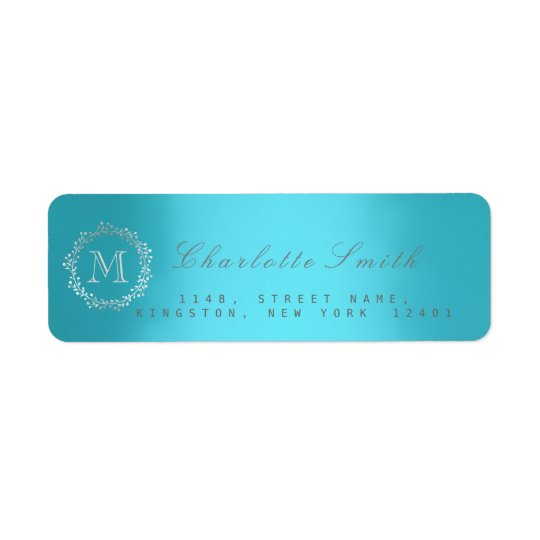 Monogram Silver Blue Return Address Labels