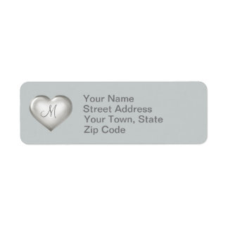 Monogram silver glass heart return address label