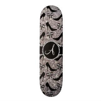 Monogram silver glitter black high heels bow 20.6 cm skateboard deck