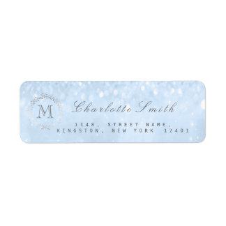 Monogram Silver Glitter Blue Return Address Labels