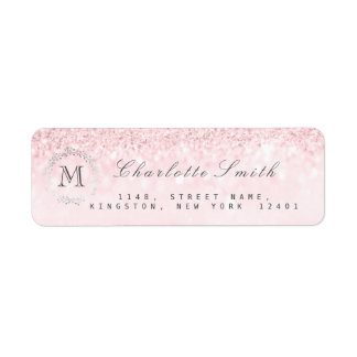 Monogram Silver Glitter Candy  Pink RSVP Bridal Return Address Label