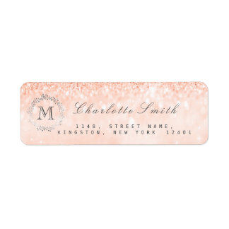 Monogram Silver Glitter Coral Peach RSVP Bridal Return Address Label