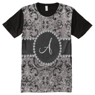 Monogram silver glitter damask All-Over print T-Shirt