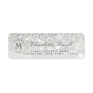 Monogram Silver Glitter Gray RSVP Bridal Wedding Return Address Label