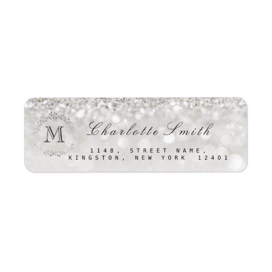 Monogram Silver Glitter Grey RSVP Bridal Wedding Return Address Label