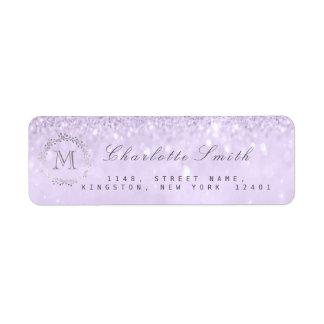 Monogram Silver Glitter Lavender RSVP Bridal Return Address Label