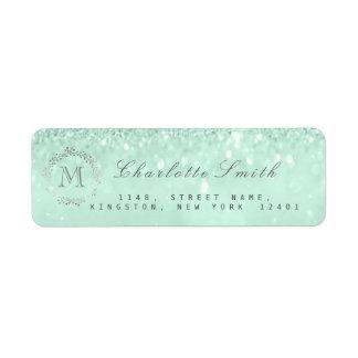 Monogram Silver Glitter Mint Green RSVP Bridal Return Address Label