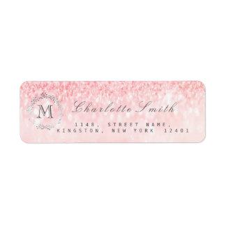 Monogram Silver Glitter Pink Rose Gray RSVP Bridal Return Address Label