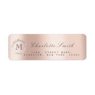 Monogram Silver Glitter Pink Rose RSVP Blush Return Address Label