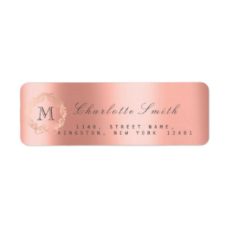 Monogram Silver Glitter Pink Rose RSVP Salmon Return Address Label