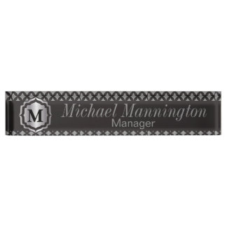 Monogram Silver Gray Pattern Name Plate