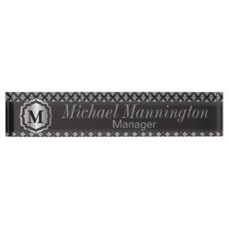Monogram Silver Gray Pattern Name Plate