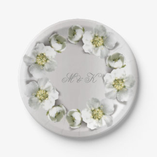 Monogram Silver Gray Pearly Real Floral Wreath Paper Plate