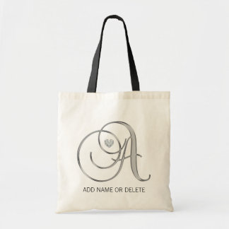 Monogram SILVER Initial Letter A Heart Diamond Tote Bag