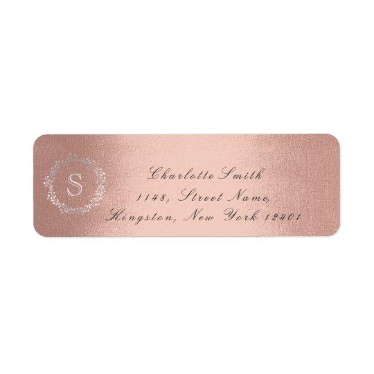 Monogram Silver Rose Blush Return Address RSVP 16t Return Address Label