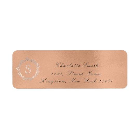 Monogram Silver Rose Gold Return Address RSVP 16t Return Address Label