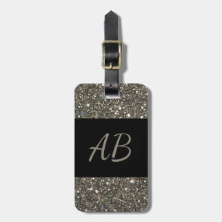Monogram Silver Shiny Glitter Black Luggage Tag