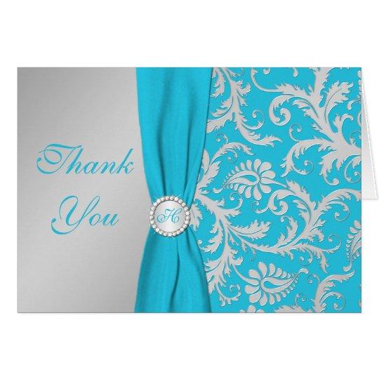 Monogram Silver, Turquoise Damask Thank You Card