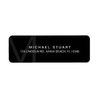 Monogram Simple Modern Minimalist Black Return Address Label