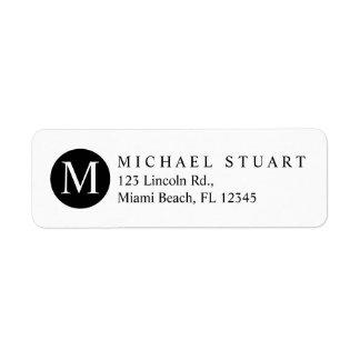 Monogram | Simple Modern Minimalist Custom Color Return Address Label