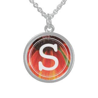Monogram Simplicity Wildflower Orange Yellow Sterling Silver Necklace