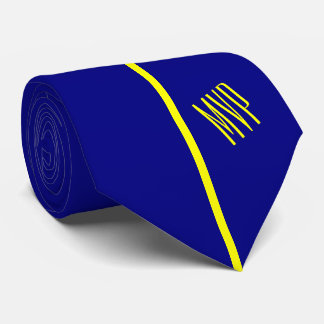 Monogram | Single Vertical Yellow Stripe on Navy Tie