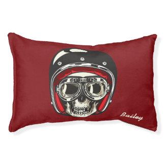Monogram. Skull with Black Biker Helmet Pet Bed
