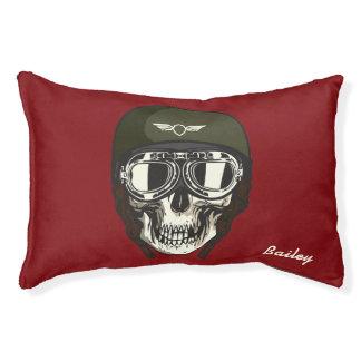 Monogram. Skull with Green Military  Helmet Pet Bed