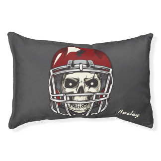 Monogram. Skull with Red Football  Helmet Pet Bed