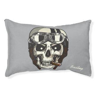 Monogram. Skull with White Biker Helmet & Cigar Pet Bed