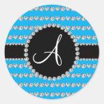 Monogram sky blue diamond hearts stripes round sticker