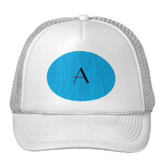 Monogram sky blue faux bois trucker hat