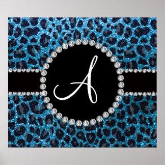 Monogram sky blue glitter leopard poster