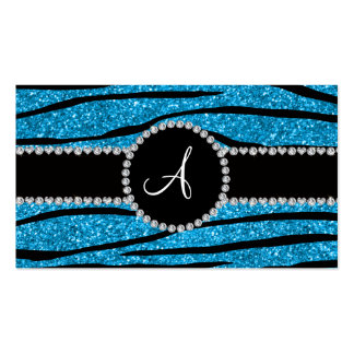 Monogram sky blue glitter zebra stripes circle business card template