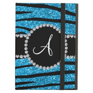 Monogram sky blue glitter zebra stripes circle iPad air cases