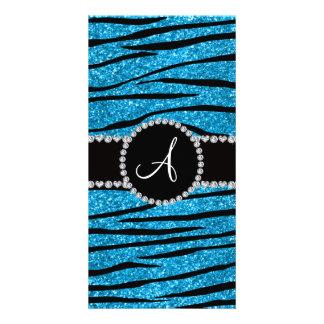 Monogram sky blue glitter zebra stripes circle photo card template