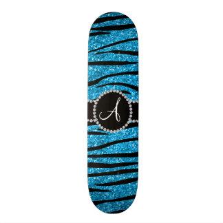 Monogram sky blue glitter zebra stripes circle skateboard decks