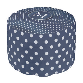 Monogram Slate Blue and White Polka Dots Pouf