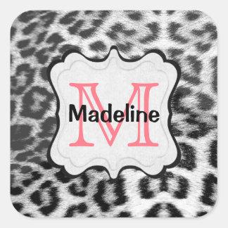 Monogram Snow Leopard Square Sticker