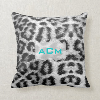 Monogram Snow Leopard Throw Pillow