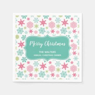 Monogram Snowflakes Christmas Cocktail Napkin Paper Napkin