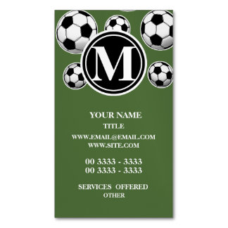 Monogram Soccer - Tree Top Magnetic Business Cards