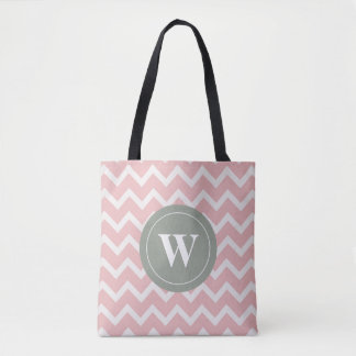 Monogram soft pink chevron motifs tote bag