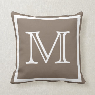 MONOGRAM Solid dark beige  Tan taupe plain pillow