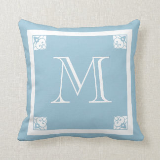 MONOGRAM solid LIGHT GREY blue custom Throw Pillow