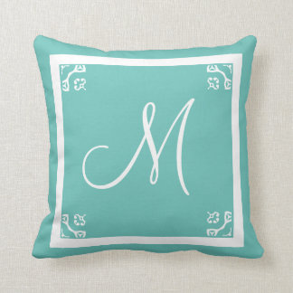 MONOGRAM solid powder blue personalized custom Cushion