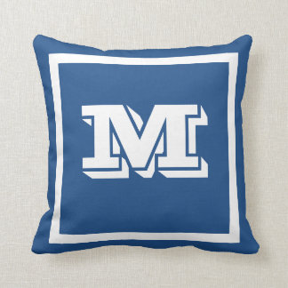 MONOGRAM solid teal blue custom Cushion
