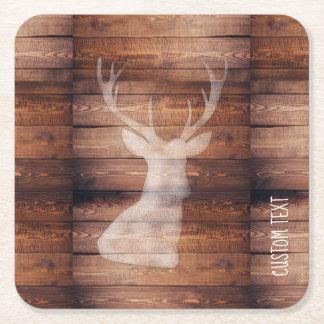 Monogram Spray Painted Deer on Wood Coasters